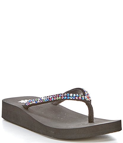 Yellow Box Rhinestone Rainbow Flip Flop