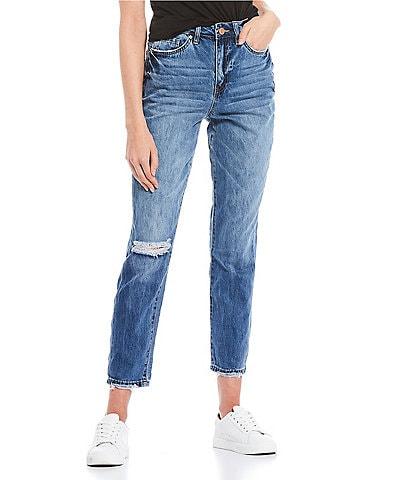 YMI Jeanswear Dream High Rise Raw Hem Mom Jeans