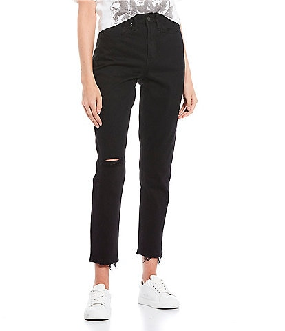 YMI Jeanswear Dream High Rise Raw Hem Mom Jeans