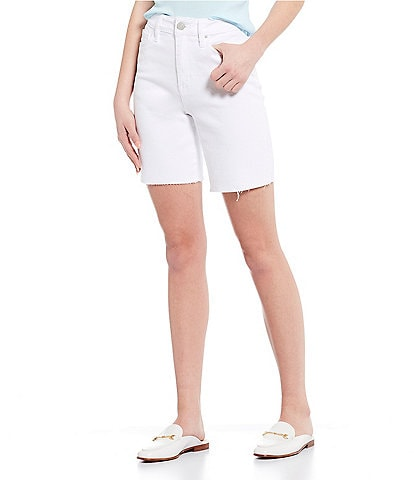 YMI Jeanswear Dream High Rise Raw Edge Mid Length Shorts