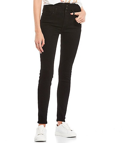 YMI Jeanswear High Rise Triple Button Stacked Skinny Jeans
