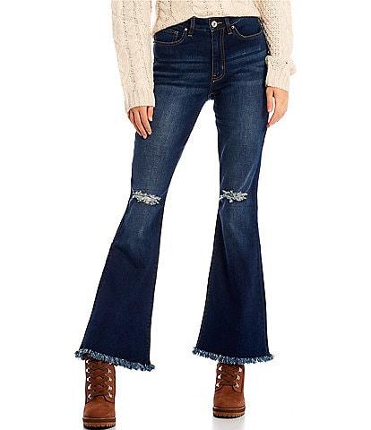 YMI Jeanswear Love Mid Rise Fray Hem Flare Jeans