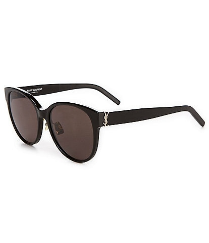Saint Laurent Round Acetate Logo Sunglasses
