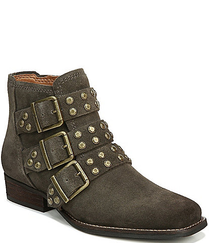 Zodiac Adele Suede Triple Buckle Studded Block Heel Booties