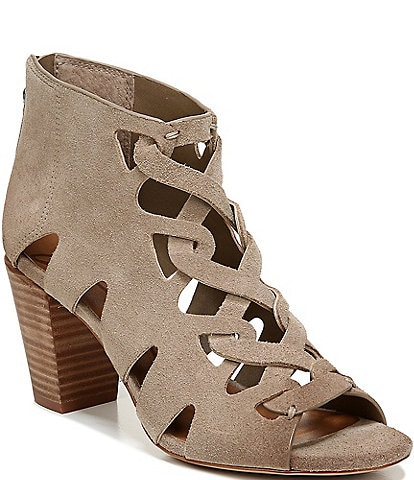 Zodiac Camila Suede Cut-Out Detail Peep Toe Block Heel Shooties