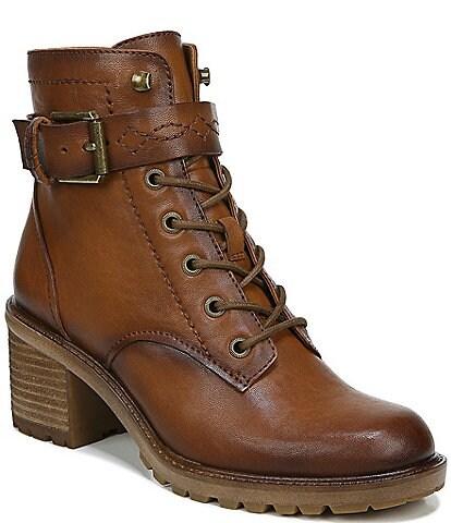 Zodiac Gemma Leather Buckle Strap Detail Block Heel Booties