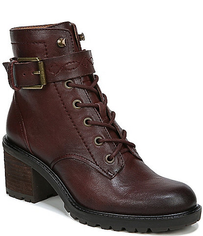 Zodiac Gemma Leather Buckle Strap Detail Lug Sole Block Heel Combat Booties