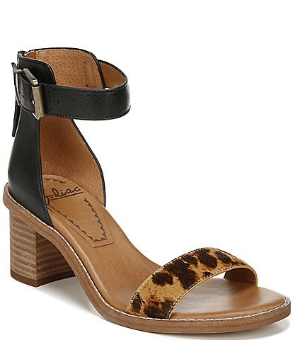 Zodiac Ilsa Leopard Haircalf Block Heel Sandals