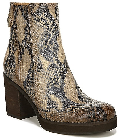 Zodiac Phoenix Snake Print Leather Square Toe Block Heel Booties
