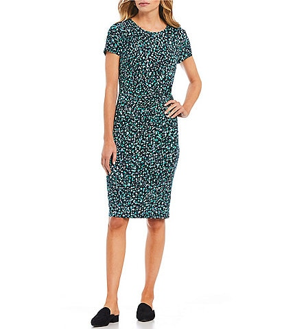 ZOZO Evergreen Dot Print Cap Sleeve Sheath Dress
