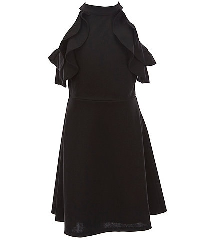 Zunie Big Girls 7-16 Cold-Shoulder Ruffled Fit-And-Flare Dress
