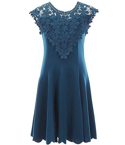 Zunie Big Girls 7-16 Crochet Lace Scallop-Hem A-Line Dress