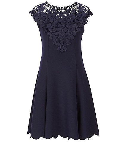Zunie Big Girls 7-16 Crochet Lace Scallop-Hem Fit-And-Flare Dress