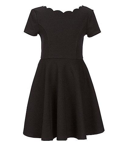 Zunie Big Girls 7-16 Scallop-Trim Ponte Fit & Flare Dress