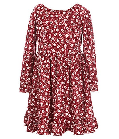 Zunie Little Girls 2T-6X Long-Sleeve Ditsy Printed Ruffled Hem Babydoll Dress