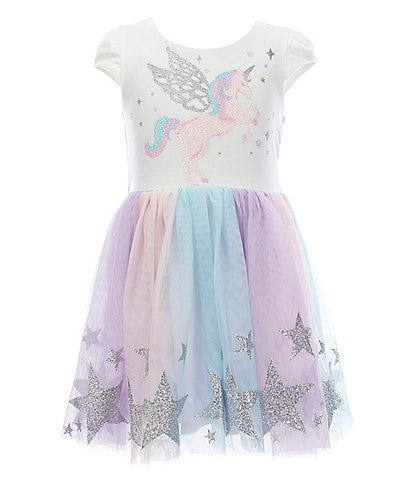 Zunie Little Girls 4-6X Glitter Pegasus Rainbow Tutu Dress