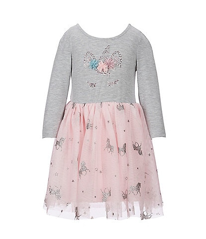 Zunie Little Girls 4-6X Unicorn Knit/Mesh-Overlay Tutu Dress