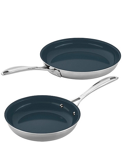 Zwilling Clad CFX 2-pc Stainless Steel Ceramic Nonstick Fry Pan Set
