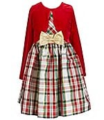 Bonnie Jean Big Girls 7-16 Velvet-To-Plaid Fit-And-Flare Dress ...