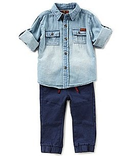 Image of 7 for all mankind Baby Boys 12-24 Months Denim Button-Front Shirt & Twill Jogger Pant Set