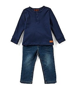Image of 7 for all mankind Baby Boys 12-24 Months Textured Jersey Henley Tee & Denim Jeans Set