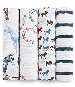 Image of Aden Anais Baby Boys 4-Pack Wild Horses Swaddle Blankets