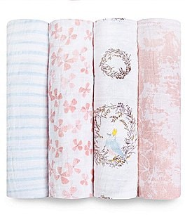 Image of Aden Anais Baby Girls 4-Pack Printed Birdsong Swaddle Blankets