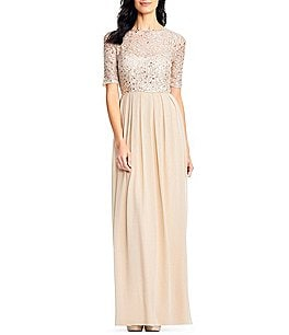 Image of Adrianna Papell Beaded Bodice Elbow Sleeve Gown