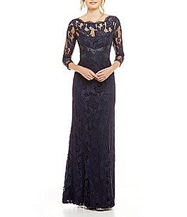 Image of Adrianna Papell Beaded Lace 3/4 Sleeve Gown