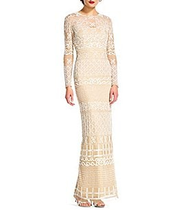 Image of Adrianna Papell Illusion Neck Long Sleeve Fully Beaded Gown