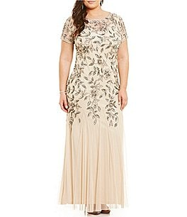 Image of Adrianna Papell Plus Floral Beaded Gown