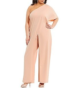 Image of Adrianna Papell Plus One-Shoulder Crepe Jumpsuit