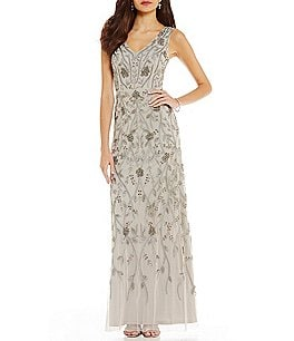 Image of Adrianna Papell Sleeveless Beaded Gown