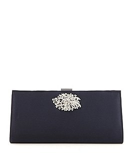 Image of Adrianna Papell Stacee Brooch Satin Clutch