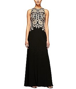 Image of Alex Evenings Metallic Embroidered Matte Jersey Gown