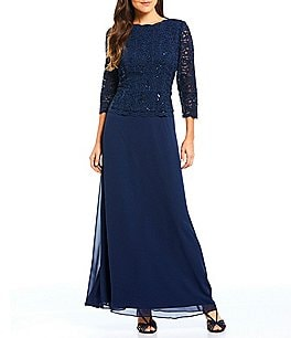 Image of Alex Evenings Sequined Lace & Chiffon Gown