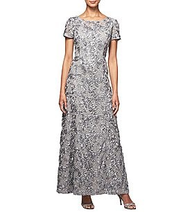 Image of Alex Evenings Sequined-Lace Rosette-Rose Gown