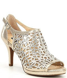 Image of Alex Marie Lanie Metallic Rhinestone Detail Cutout Pattern Dress Pumps