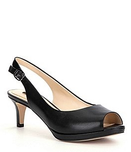 Image of Alex Marie Melanie Leather Slingback Peep-Toe Pumps