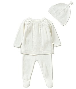 Image of Angel Dear Baby Boys Newborn Long-Sleeve Sweater, Footed Pants, & Hat 3-Piece Layette Set
