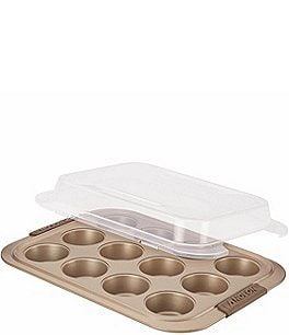 Image of Anolon Advanced Bronze Nonstick 12-Cup Muffin Pan with Silicone Grips