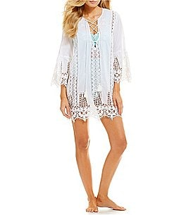 Image of Antonio Melani Bell Sleeve Lace Tunic Swimsuit Cover-Up