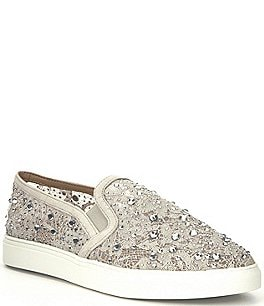 Image of Antonio Melani Garner Lace Rhinestone Embellished Slip-On Sneakers