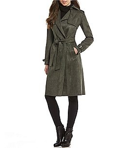 Image of Antonio Melani Scuba Faux Suede Maxi Trench Coat