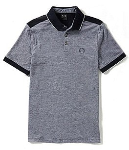 Image of Armani Exchange Slim-Fit Stretch Color Block Logo Short-Sleeve Polo Shirt