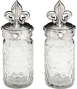 Image of Arthur Court Fleur-de-Lis Honeycomb Glass Salt & Pepper Shaker Set