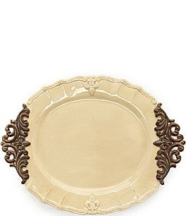 Image of Artimino Fleur-de-Lis Beveled Earthenware Oval Platter