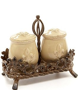 Image of Artimino Fleur-de-Lis Beveled Earthenware Salt & Pepper Shaker Set