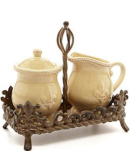 Image of Artimino Fleur-de-Lis Beveled Earthenware Sugar & Creamer Set