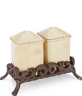 Image of Artimino Tuscan Countryside Rope-Edged Stoneware Salt & Pepper Shaker Set